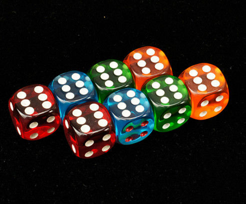 Colorful Plastic 8 / 10 / 12 / 14mm Casino Magic Dice For Betting Games Cheat